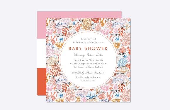 coral reef baby shower template invitation templates creative market