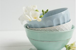 Stack of Bowls with florals