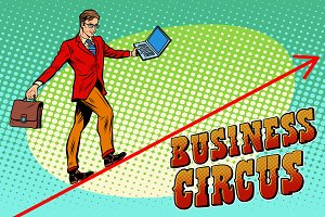 Businessman acrobat business circus