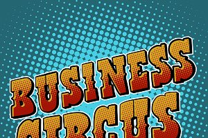 Business circus retro vector text