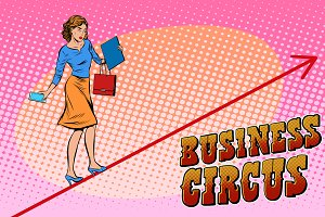 Businesswoman acrobat circus
