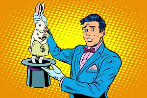 Businessman magician and Bunny money