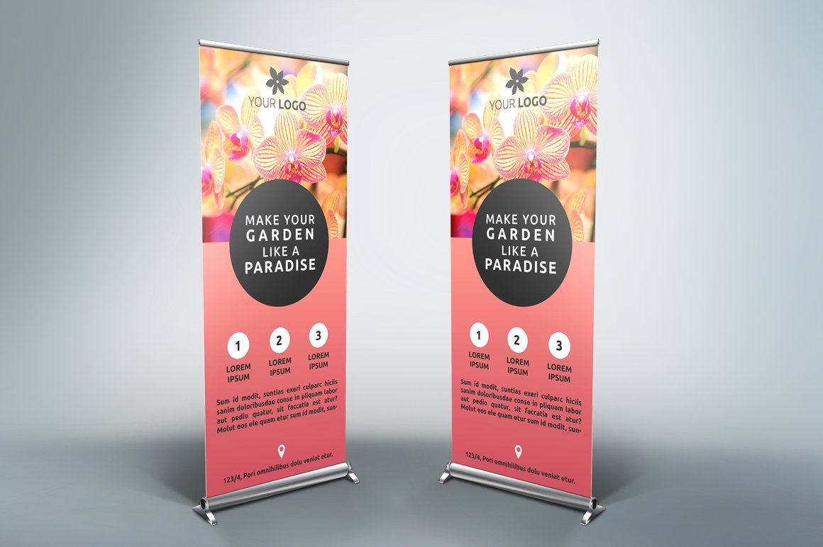 flower roll up banner sb flyer templates creative market. Black Bedroom Furniture Sets. Home Design Ideas