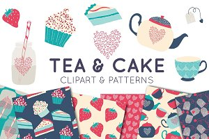 Tea and Cake Clipart & Digital Paper