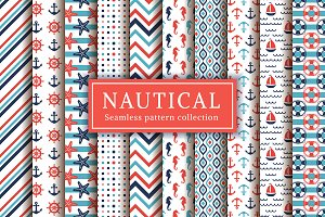 Nautical and sea seamless patterns