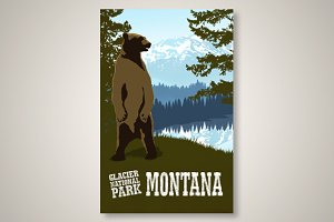 Glacier Park Montana Travel Poster