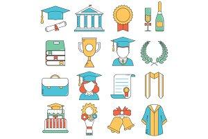 Graduation Celebration Line Icons