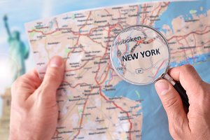 Man consulting map of New York