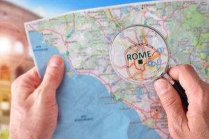 Man consulting map of Rome