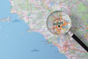 Magnifier over Rome on map