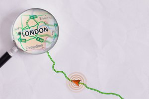 Concept travel route London