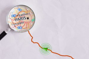 Concept travel route Paris