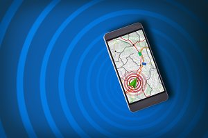 Phone with navigation assistant blue