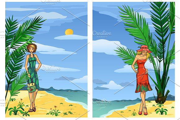 Elegant women on the beach in Illustrations - product preview 1