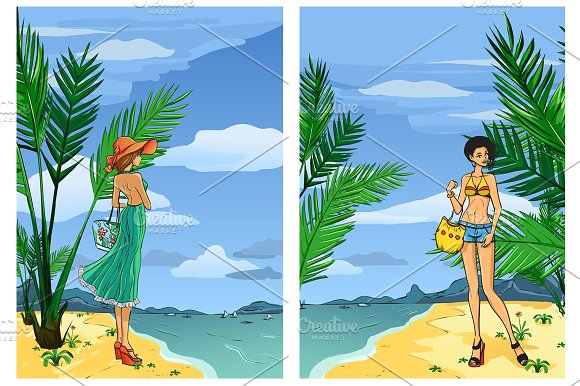 Elegant women on the beach in Illustrations - product preview 2