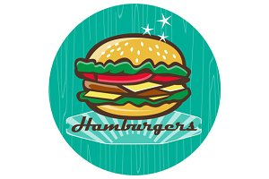 Retro 1950s Diner  Hamburger Circle