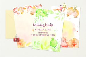Watercolor Clipart Wedding Invites
