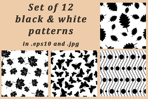 Set of 12 black&white patterns