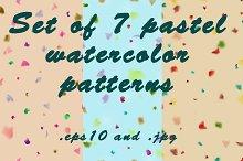 Set of 7 pastel watercolor patterns