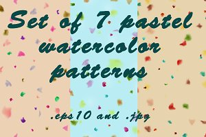 Set of 7 pastel watercolor patterns