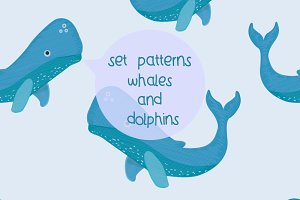 Set pattern-whales & dolphins