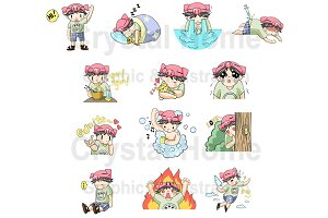 Piggy Boy cartoon icon set 1