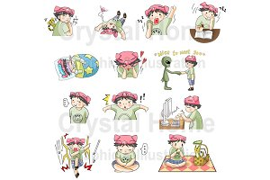Piggy Boy cartoon icon set 2