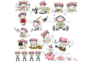 Piggy Boy cartoon icon set 3