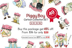 Piggy Boy cartoon icon set pack!
