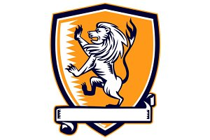 Lion Prancing Crest Woodcut