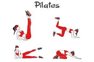 Symbolic woman practises pilates.