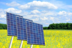 Solar panels on nature background