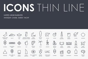 United Arab Emirates thinline icons