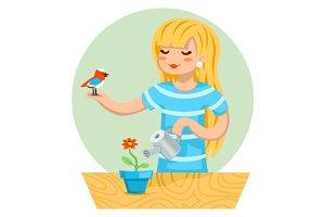 Girl, flower and a bird