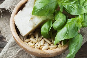 Ingredients for italian pesto