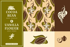 Cocoa bean and vanilla flower