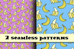Banana seamless patterns