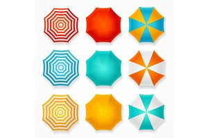 Colorful Sun Umbrella Set. Vector