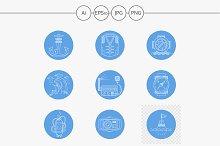 Scuba diving round blue icons