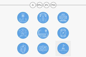 Scuba diving round blue icons