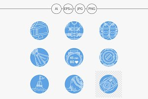 Water sport elements blue icons
