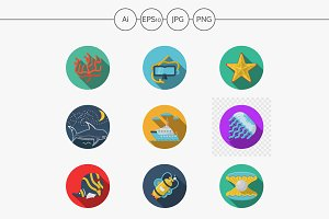 Sea rest flat color vector icons