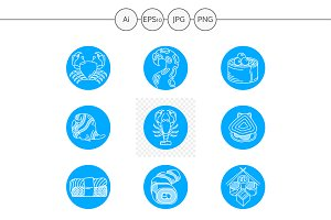 Seafood round blue vector icons