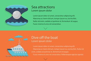 Sea vacations flat style web element