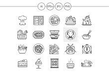 Restaurant service line icons. Set 3