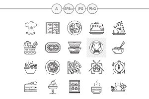 Restaurant service line icons. Set 3