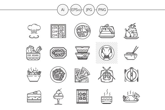 Restaurant service line icons. Set 3 - Icons