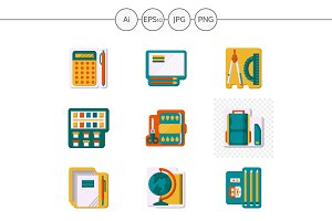School supplies color icons. Set 1