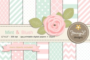 Mint and Blush Pink Digital Paper