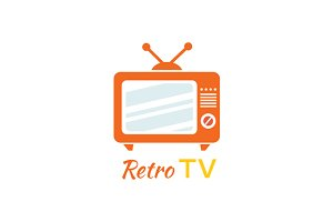 Retro Tv Logo Design Flat Icon